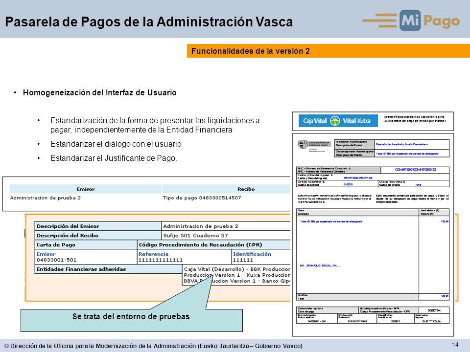14 © Dirección de la Oficina para la Modernización de la Administración (Eusko Jaurlaritza – Gobierno Vasco) Pasarela de Pagos de la Administración Va