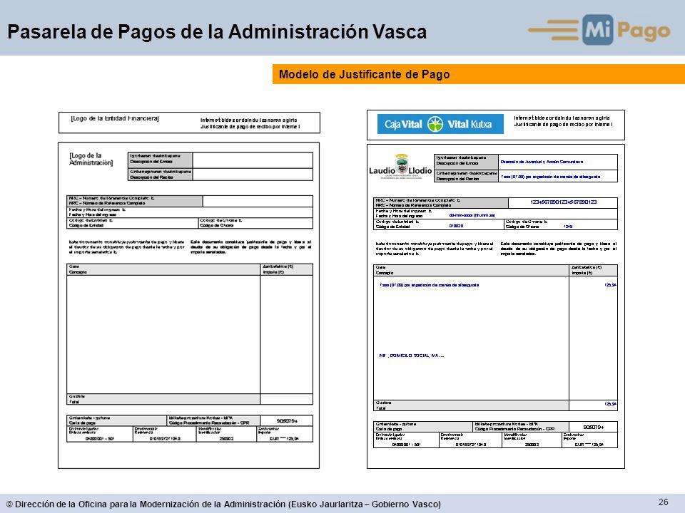 26 © Dirección de la Oficina para la Modernización de la Administración (Eusko Jaurlaritza – Gobierno Vasco) Pasarela de Pagos de la Administración Va
