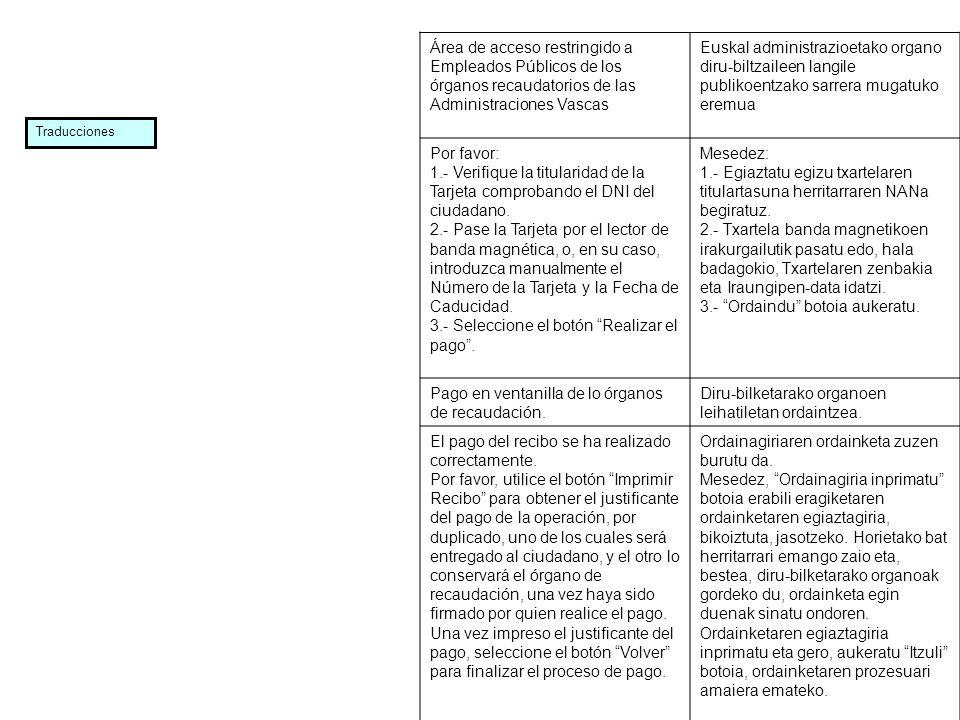 Área de acceso restringido a Empleados Públicos de los órganos recaudatorios de las Administraciones Vascas Euskal administrazioetako organo diru bilt