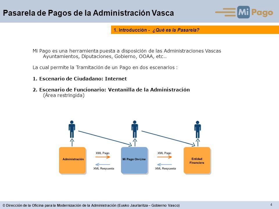 15 © Dirección de la Oficina para la Modernización de la Administración (Eusko Jaurlaritza – Gobierno Vasco) Pasarela de Pagos de la Administración Vasca 2.