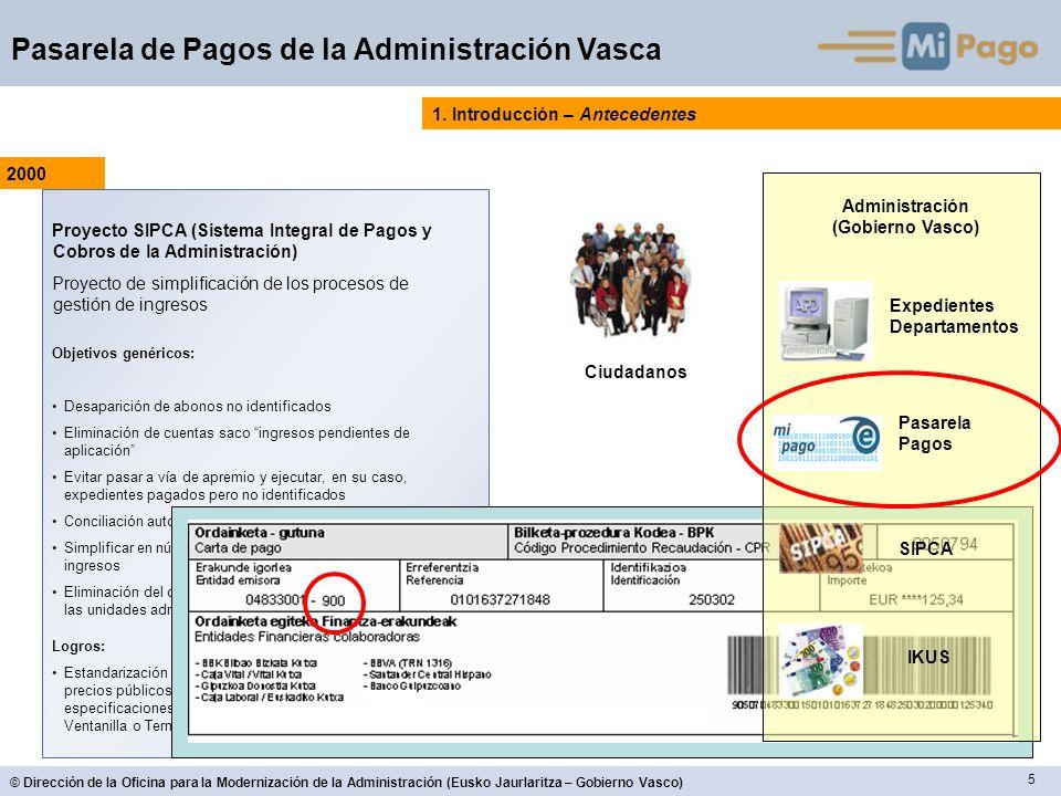 6 © Dirección de la Oficina para la Modernización de la Administración (Eusko Jaurlaritza – Gobierno Vasco) Pasarela de Pagos de la Administración Vasca 1.