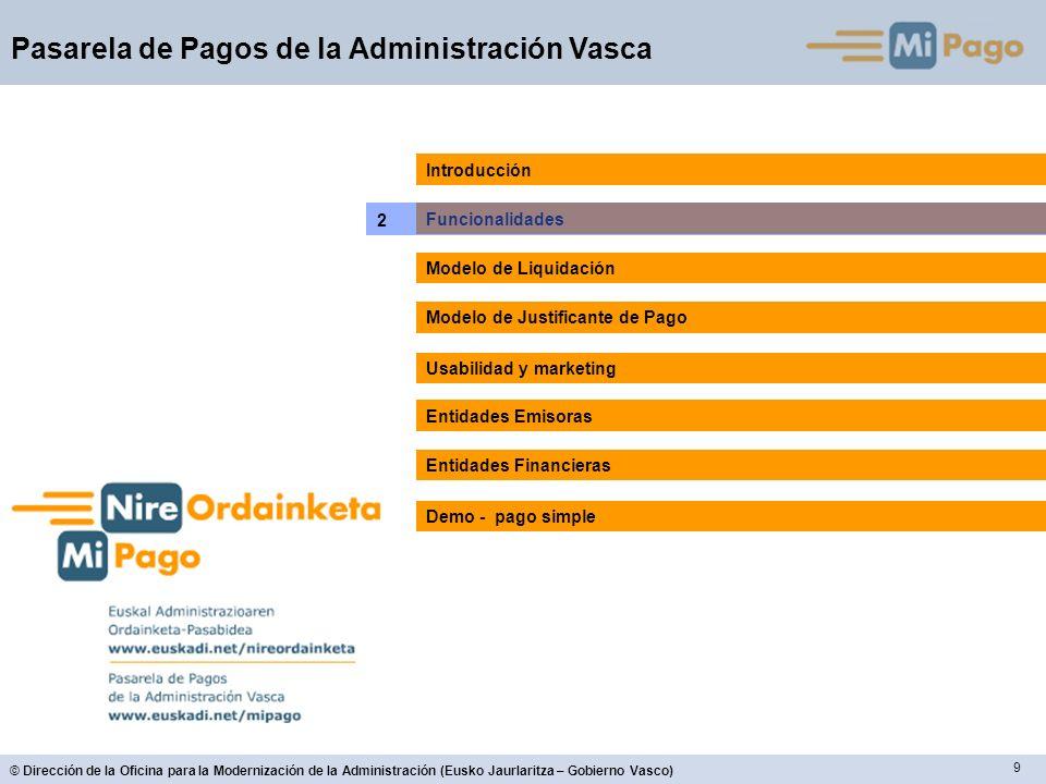 10 © Dirección de la Oficina para la Modernización de la Administración (Eusko Jaurlaritza – Gobierno Vasco) Pasarela de Pagos de la Administración Vasca 2.