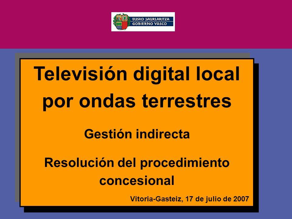 Vitoria-Gasteiz, 2007ko uztailak 17 Televisión digital local por ondas terrestres Gestión indirecta Resolución del procedimiento concesional Vitoria-Gasteiz, 17 de julio de 2007