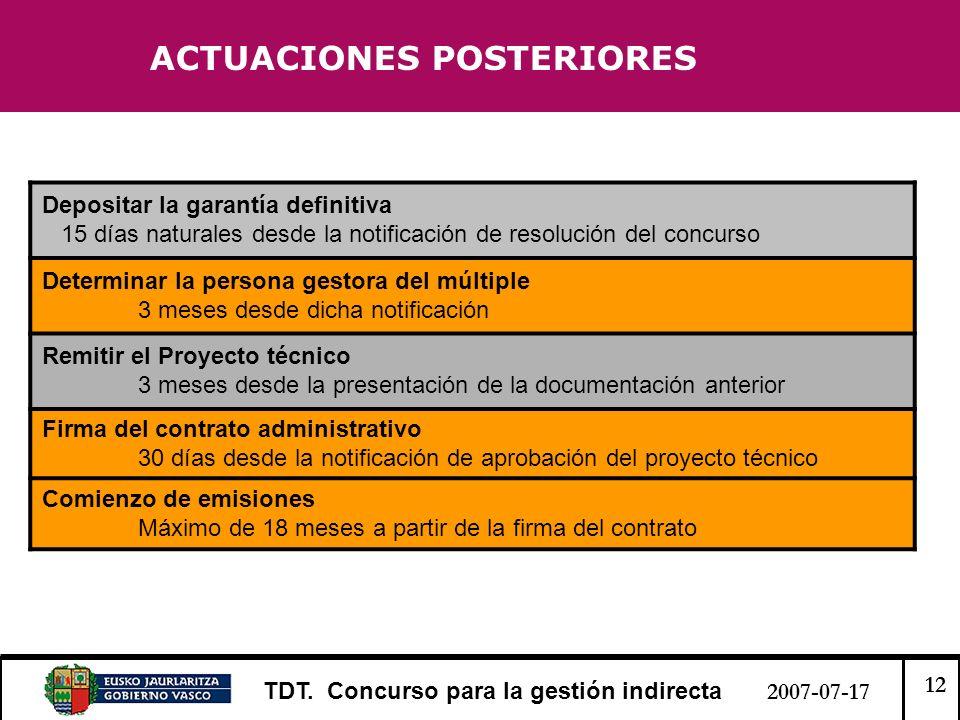 12 TDT. Concurso para la gestión indirecta 2007-07-17 ACTUACIONES POSTERIORES Depositar la garantía definitiva 15 días naturales desde la notificación
