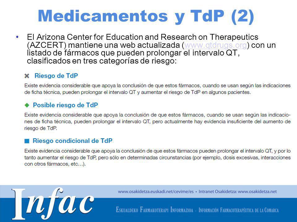 http://www.osakidetza.euskadi.net Medicamentos y TdP (2) El Arizona Center for Education and Research on Therapeutics (AZCERT) mantiene una web actual