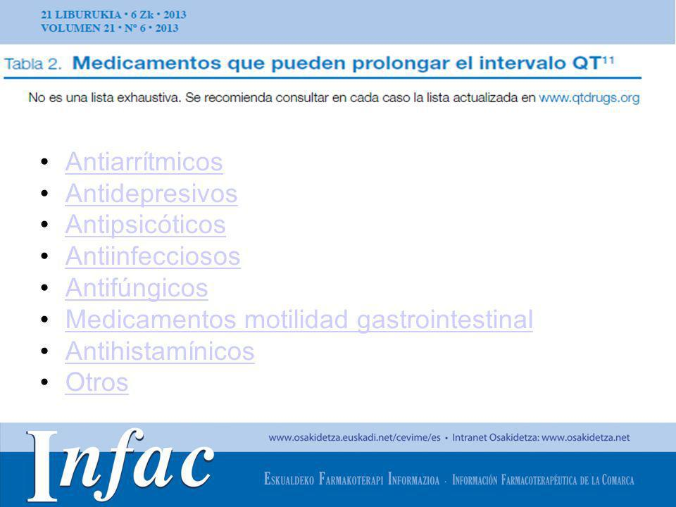 http://www.osakidetza.euskadi.net Antiarrítmicos Antidepresivos Antipsicóticos Antiinfecciosos Antifúngicos Medicamentos motilidad gastrointestinal An
