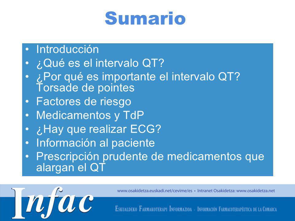 http://www.osakidetza.euskadi.net Sumario Introducción ¿Qué es el intervalo QT? ¿Por qué es importante el intervalo QT? Torsade de pointes Factores de