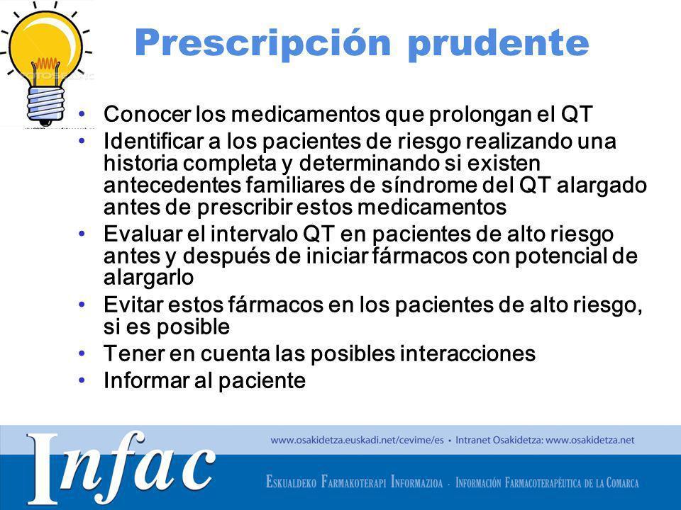 http://www.osakidetza.euskadi.net Prescripción prudente Conocer los medicamentos que prolongan el QT Identificar a los pacientes de riesgo realizando