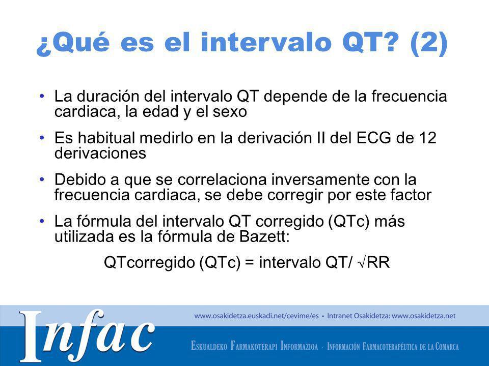 http://www.osakidetza.euskadi.net La duración del intervalo QT depende de la frecuencia cardiaca, la edad y el sexo Es habitual medirlo en la derivaci