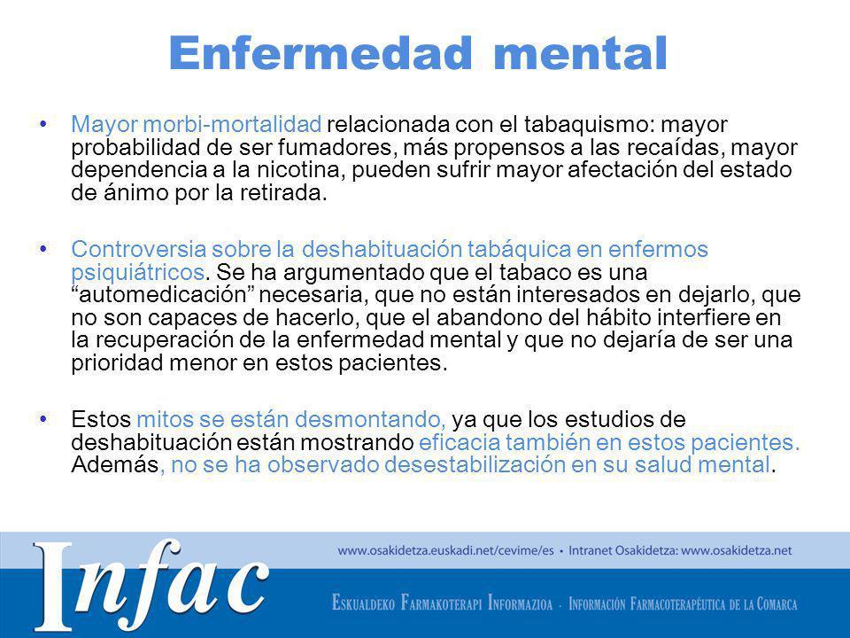 http://www.osakidetza.euskadi.net Enfermedad mental Mayor morbi-mortalidad relacionada con el tabaquismo: mayor probabilidad de ser fumadores, más pro