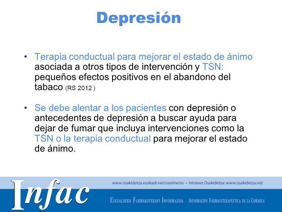 http://www.osakidetza.euskadi.net Depresión Terapia conductual para mejorar el estado de ánimo asociada a otros tipos de intervención y TSN: pequeños
