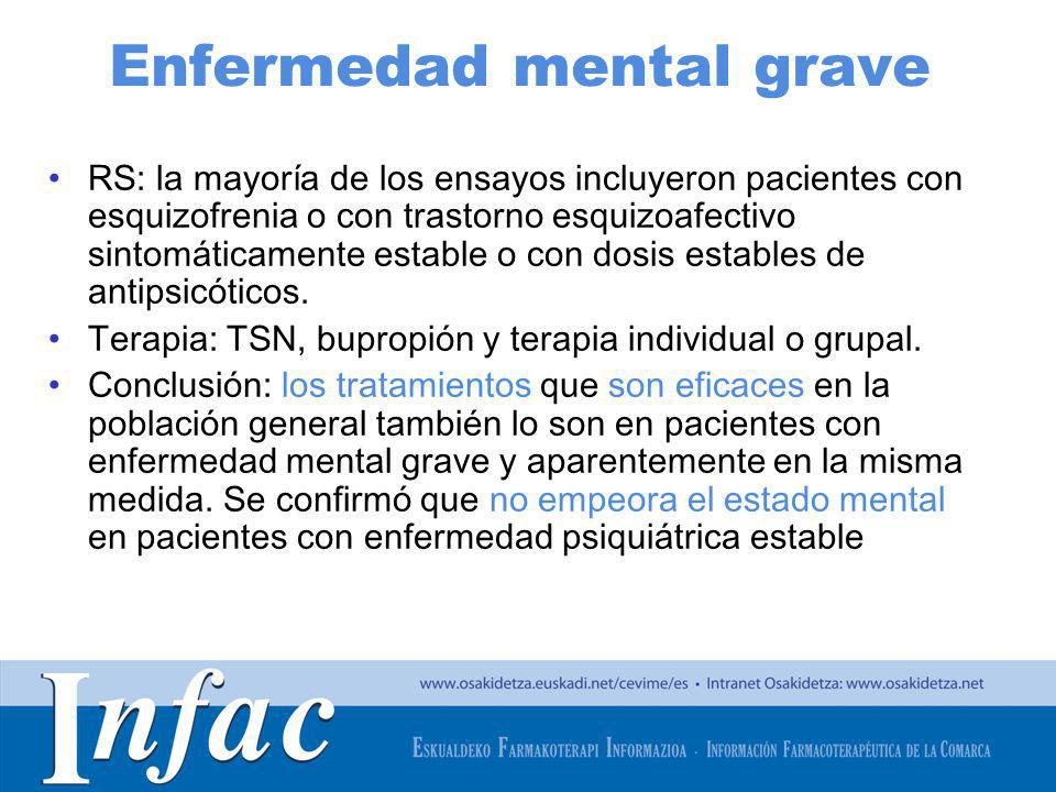 http://www.osakidetza.euskadi.net Enfermedad mental grave RS: la mayoría de los ensayos incluyeron pacientes con esquizofrenia o con trastorno esquizo