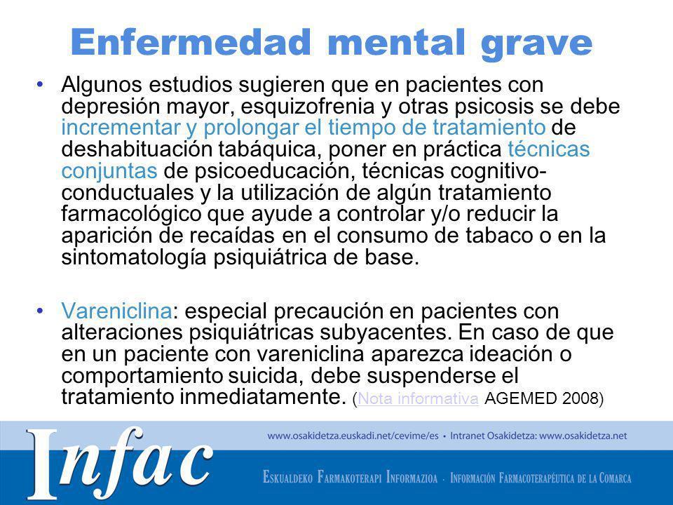 http://www.osakidetza.euskadi.net Enfermedad mental grave Algunos estudios sugieren que en pacientes con depresión mayor, esquizofrenia y otras psicos