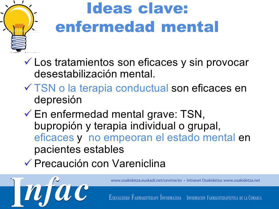 http://www.osakidetza.euskadi.net Ideas clave: enfermedad mental Los tratamientos son eficaces y sin provocar desestabilización mental. TSN o la terap