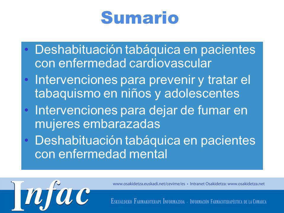 http://www.osakidetza.euskadi.net Sumario Deshabituación tabáquica en pacientes con enfermedad cardiovascular Intervenciones para prevenir y tratar el