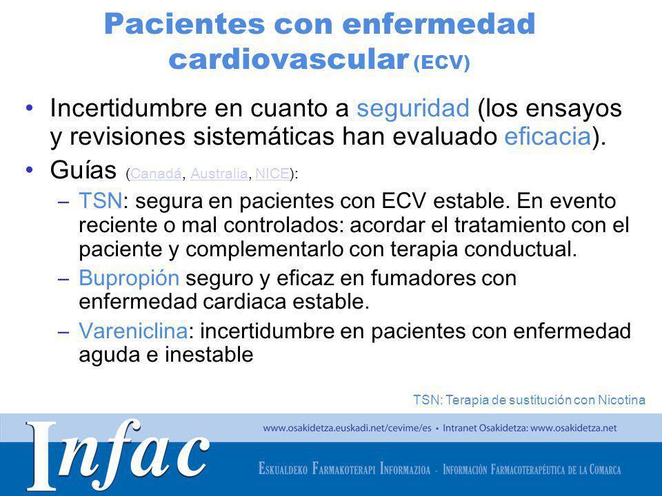 http://www.osakidetza.euskadi.net Pacientes con enfermedad cardiovascular (ECV) Incertidumbre en cuanto a seguridad (los ensayos y revisiones sistemát
