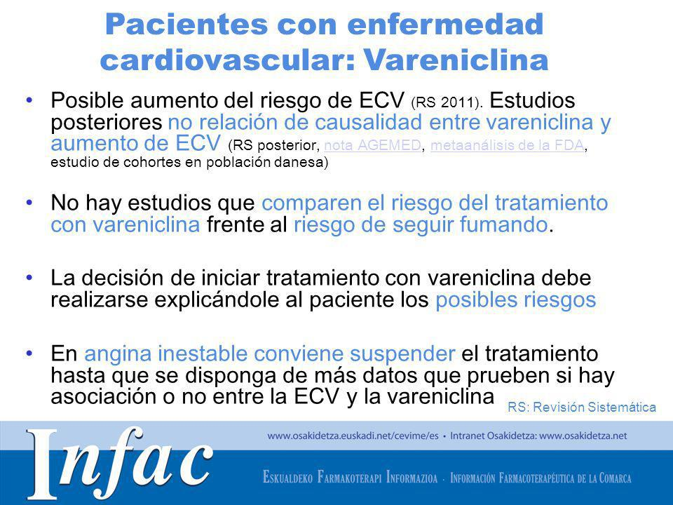 http://www.osakidetza.euskadi.net Posible aumento del riesgo de ECV (RS 2011). Estudios posteriores no relación de causalidad entre vareniclina y aume
