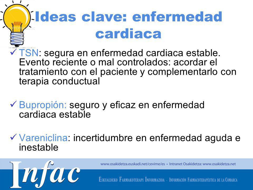 http://www.osakidetza.euskadi.net Ideas clave: enfermedad cardiaca TSN: segura en enfermedad cardiaca estable. Evento reciente o mal controlados: acor