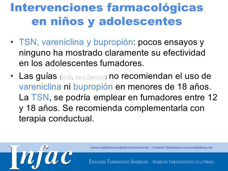 http://www.osakidetza.euskadi.net Ideas clave: niños y adolescentes no usar vareniclina ni bupropión en menores de 18 años TSN: se podría emplear en fumadores entre 12 y 18 años.