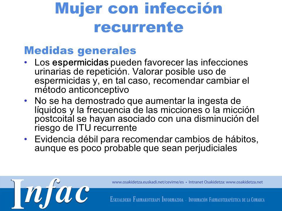 http://www.osakidetza.euskadi.net Mujer con infección recurrente Medidas generales Los espermicidas pueden favorecer las infecciones urinarias de repe