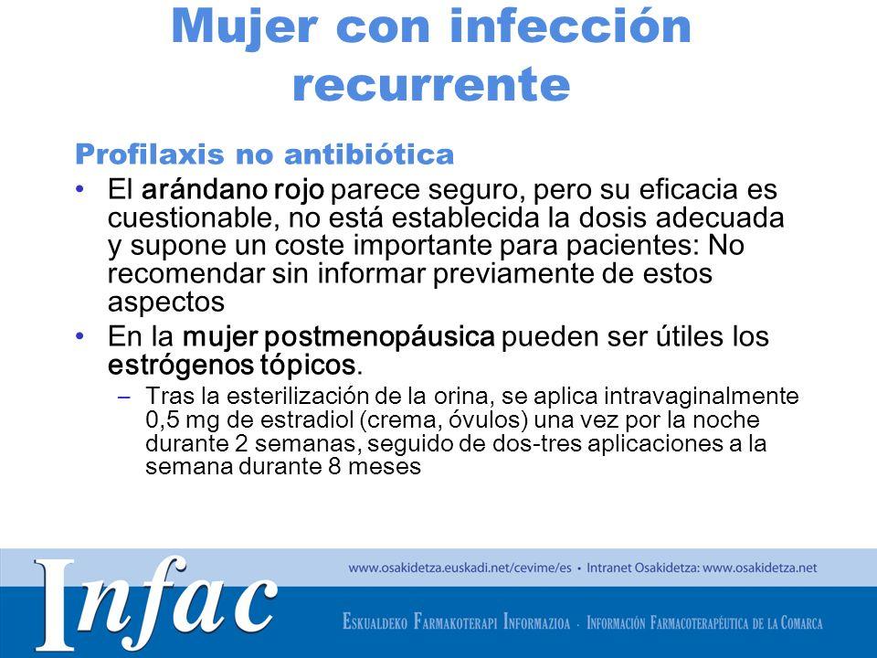 http://www.osakidetza.euskadi.net Mujer con infección recurrente Profilaxis no antibiótica El arándano rojo parece seguro, pero su eficacia es cuestio