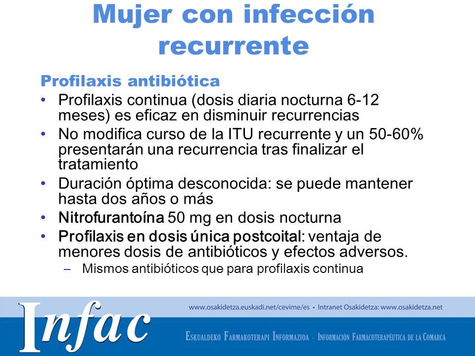 http://www.osakidetza.euskadi.net Mujer con infección recurrente Profilaxis antibiótica Profilaxis continua (dosis diaria nocturna 6-12 meses) es efic