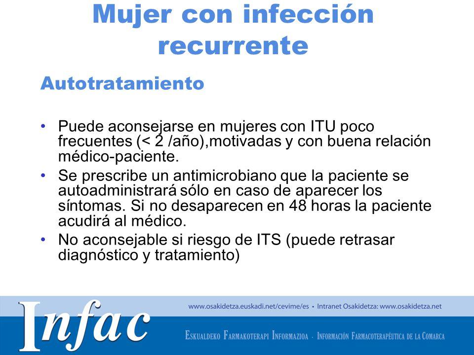 http://www.osakidetza.euskadi.net Mujer con infección recurrente Autotratamiento Puede aconsejarse en mujeres con ITU poco frecuentes (< 2 /año),motiv