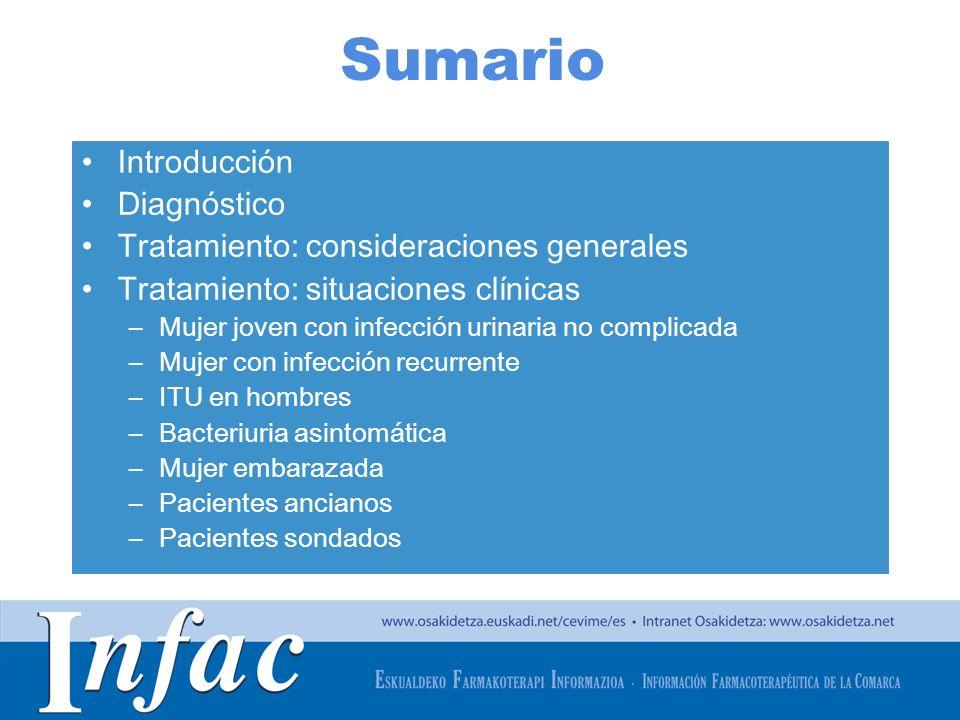http://www.osakidetza.euskadi.net Pacientes ancianos Bacteriurias asintomáticas muy frecuentes en ancianos, especialmente en los institucionalizados No se recomienda realizar cribado ni tratamiento sistemático ITU sintomáticas: duración de 7 días
