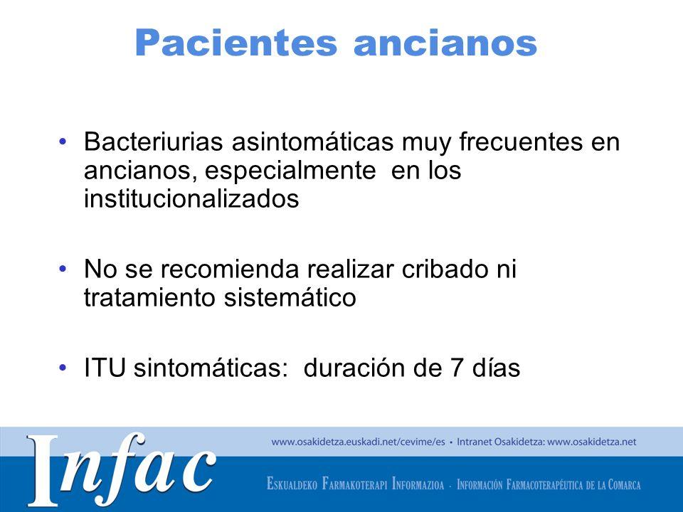 http://www.osakidetza.euskadi.net Pacientes ancianos Bacteriurias asintomáticas muy frecuentes en ancianos, especialmente en los institucionalizados N