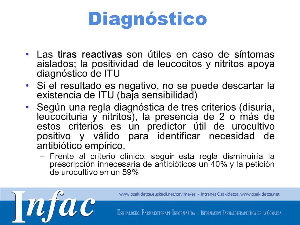 http://www.osakidetza.euskadi.net Diagnóstico Las tiras reactivas son útiles en caso de síntomas aislados; la positividad de leucocitos y nitritos apo