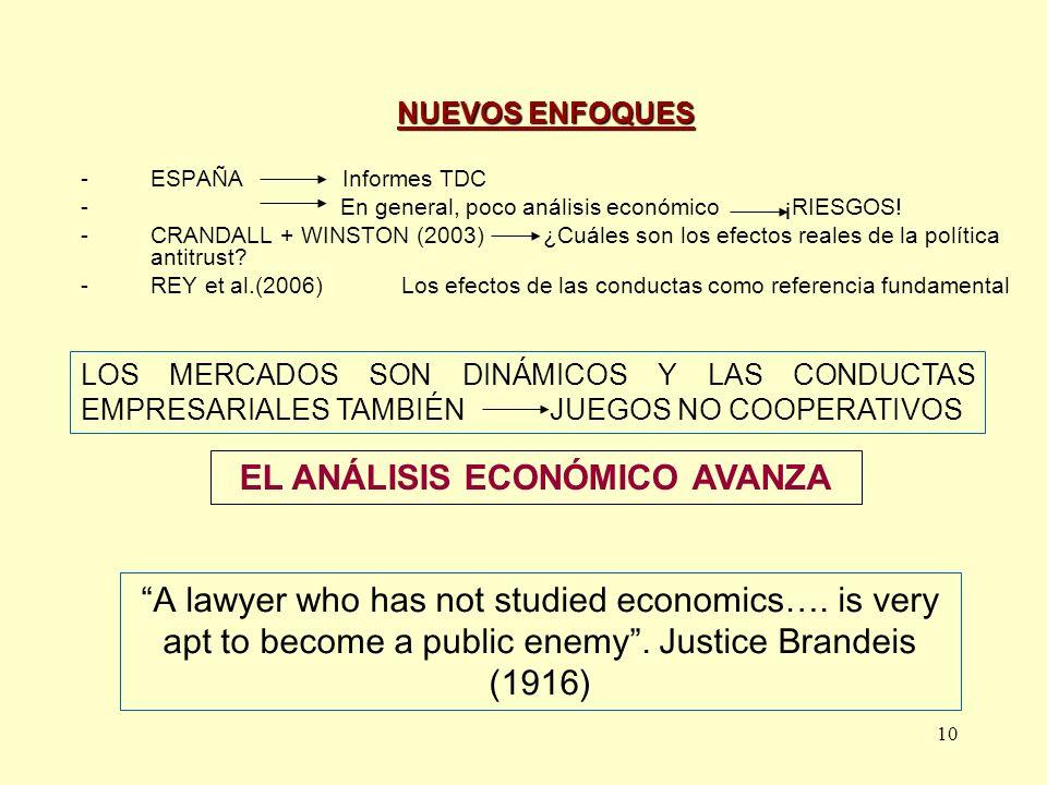 10 NUEVOS ENFOQUES -ESPAÑA Informes TDC - En general, poco análisis económico ¡RIESGOS! -CRANDALL + WINSTON (2003) ¿Cuáles son los efectos reales de l
