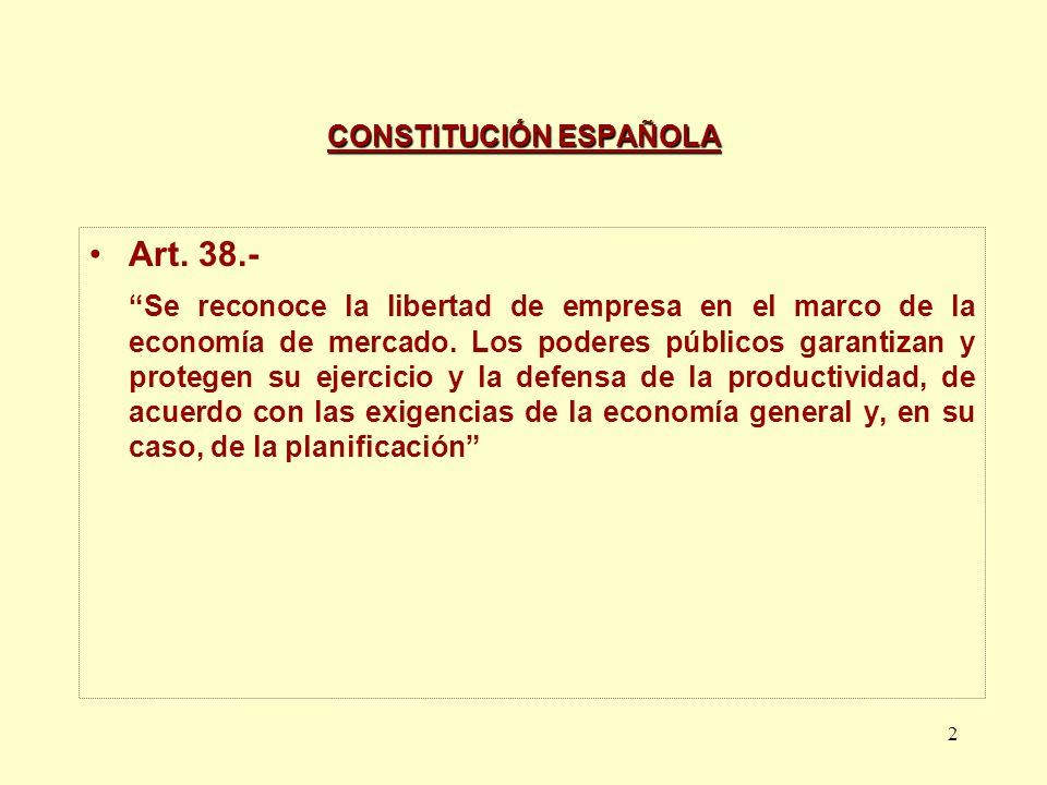 2 CONSTITUCIÓN ESPAÑOLA Art. 38.- Se reconoce la libertad de empresa en el marco de la economía de mercado. Los poderes públicos garantizan y protegen