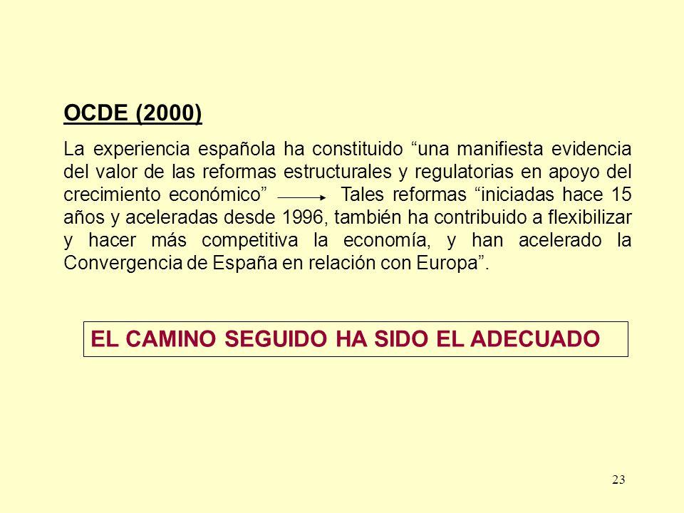 23 OCDE (2000) La experiencia española ha constituido una manifiesta evidencia del valor de las reformas estructurales y regulatorias en apoyo del cre