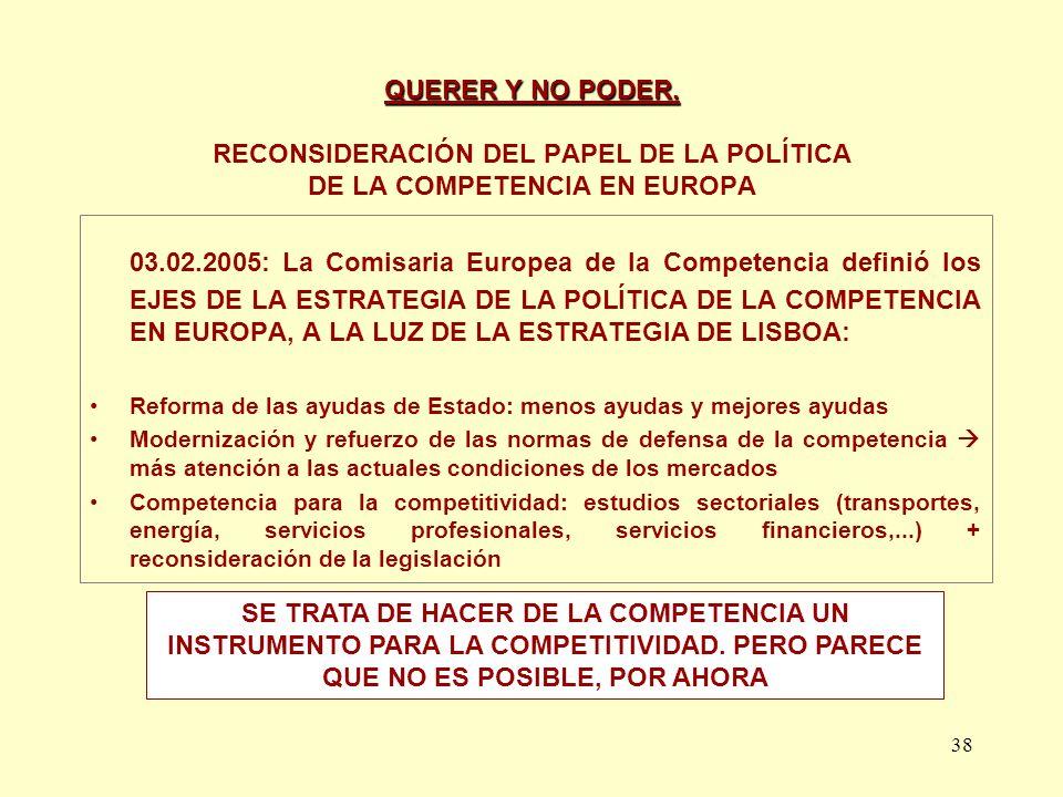38 QUERER Y NO PODER. QUERER Y NO PODER. RECONSIDERACIÓN DEL PAPEL DE LA POLÍTICA DE LA COMPETENCIA EN EUROPA 03.02.2005: La Comisaria Europea de la C