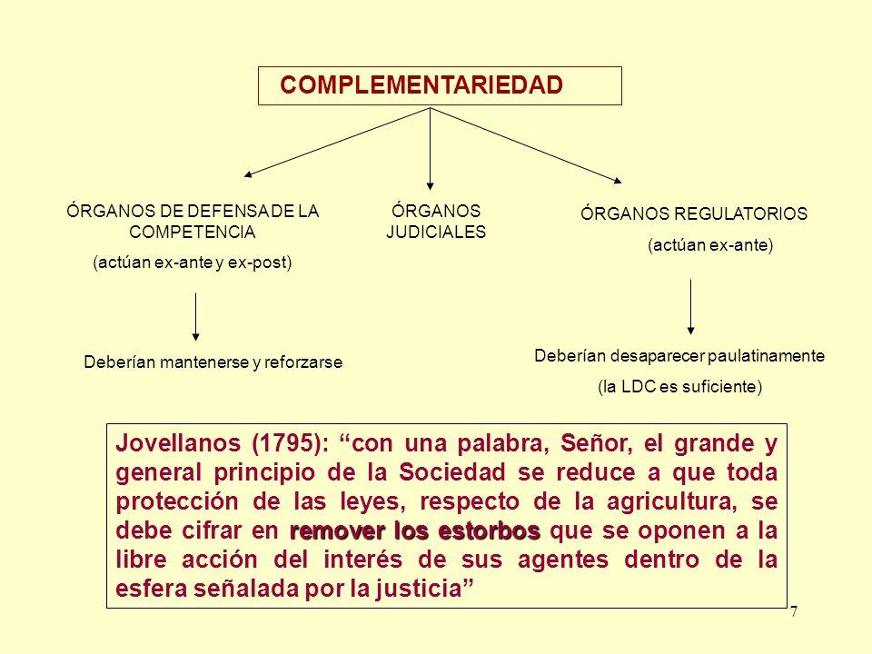 7 COMPLEMENTARIEDAD ÓRGANOS DE DEFENSA DE LA COMPETENCIA (actúan ex-ante y ex-post) ÓRGANOS REGULATORIOS (actúan ex-ante) Deberían desaparecer paulati
