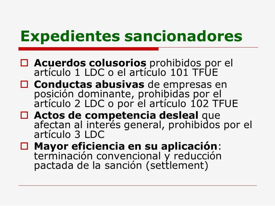 Expedientes sancionadores Acuerdos colusorios prohibidos por el artículo 1 LDC o el artículo 101 TFUE Conductas abusivas de empresas en posición domin