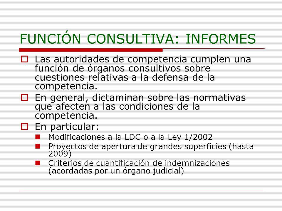 FUNCIÓN CONSULTIVA: INFORMES Las autoridades de competencia cumplen una función de órganos consultivos sobre cuestiones relativas a la defensa de la c