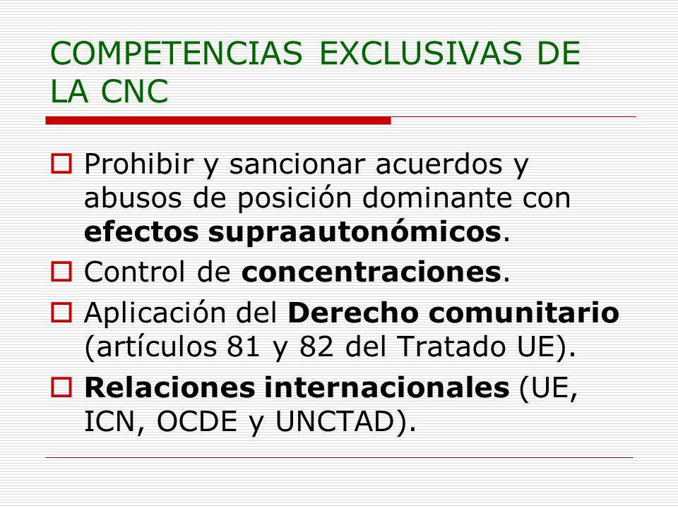 COMPETENCIAS EXCLUSIVAS DE LA CNC Prohibir y sancionar acuerdos y abusos de posición dominante con efectos supraautonómicos. Control de concentracione