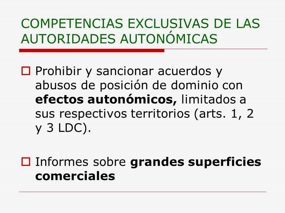 COMPETENCIAS EXCLUSIVAS DE LAS AUTORIDADES AUTONÓMICAS Prohibir y sancionar acuerdos y abusos de posición de dominio con efectos autonómicos, limitado