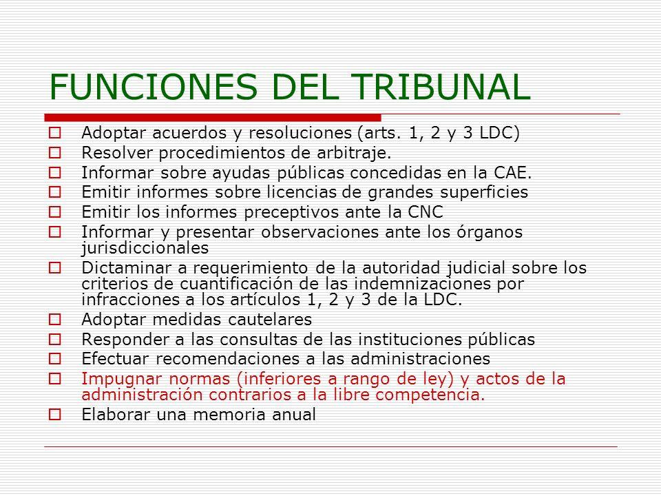 FUNCIONES DEL TRIBUNAL Adoptar acuerdos y resoluciones (arts. 1, 2 y 3 LDC) Resolver procedimientos de arbitraje. Informar sobre ayudas públicas conce