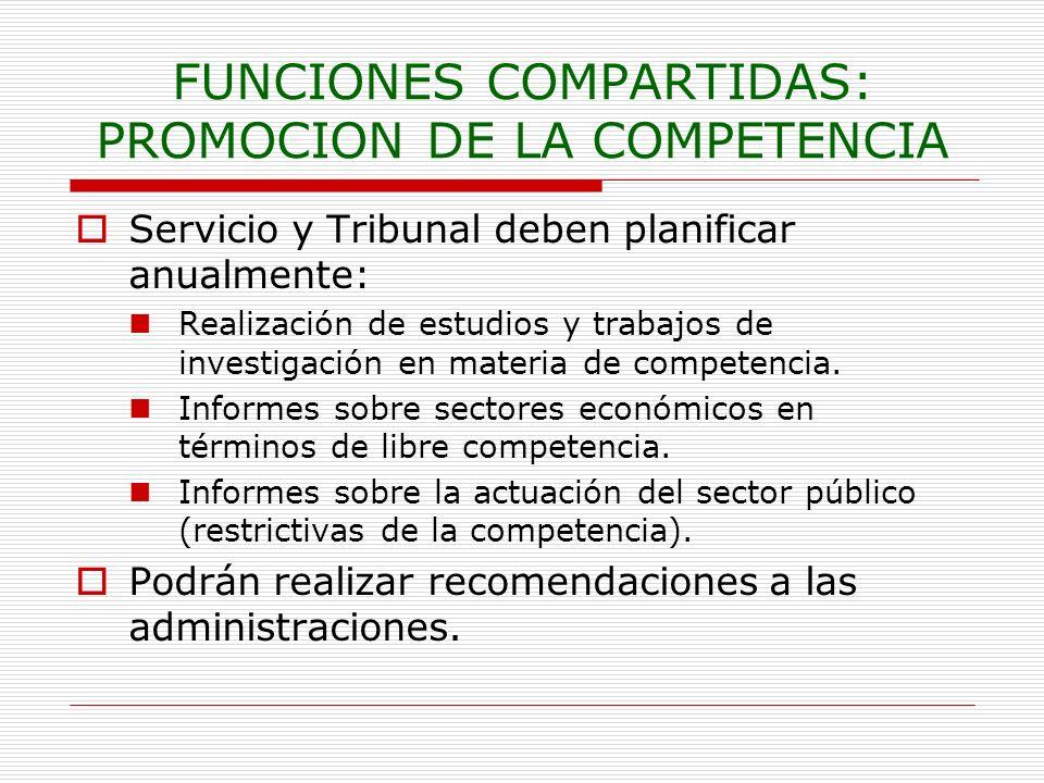 FUNCIONES COMPARTIDAS: PROMOCION DE LA COMPETENCIA Servicio y Tribunal deben planificar anualmente: Realización de estudios y trabajos de investigació