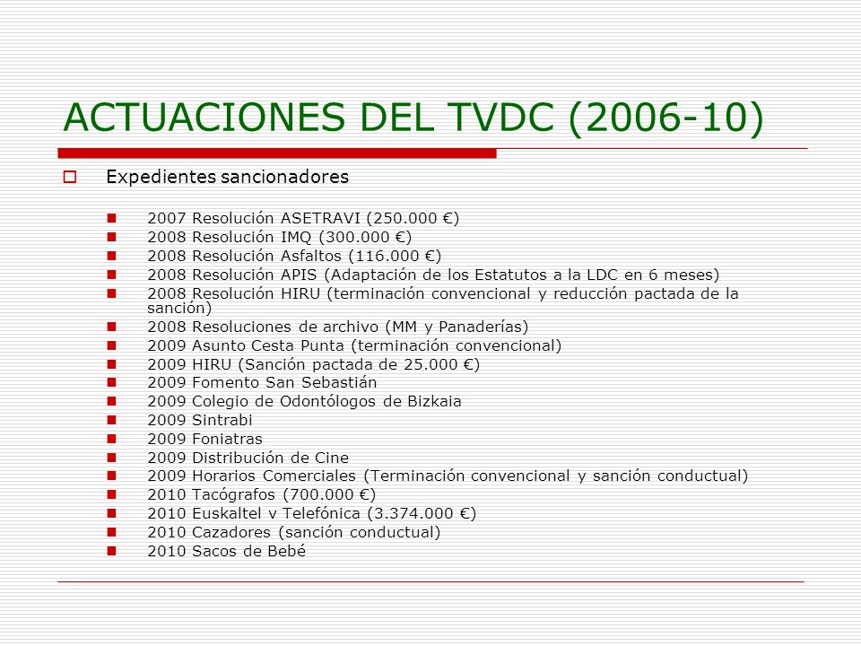 ACTUACIONES DEL TVDC (2006-10) Expedientes sancionadores 2007 Resolución ASETRAVI (250.000 ) 2008 Resolución IMQ (300.000 ) 2008 Resolución Asfaltos (