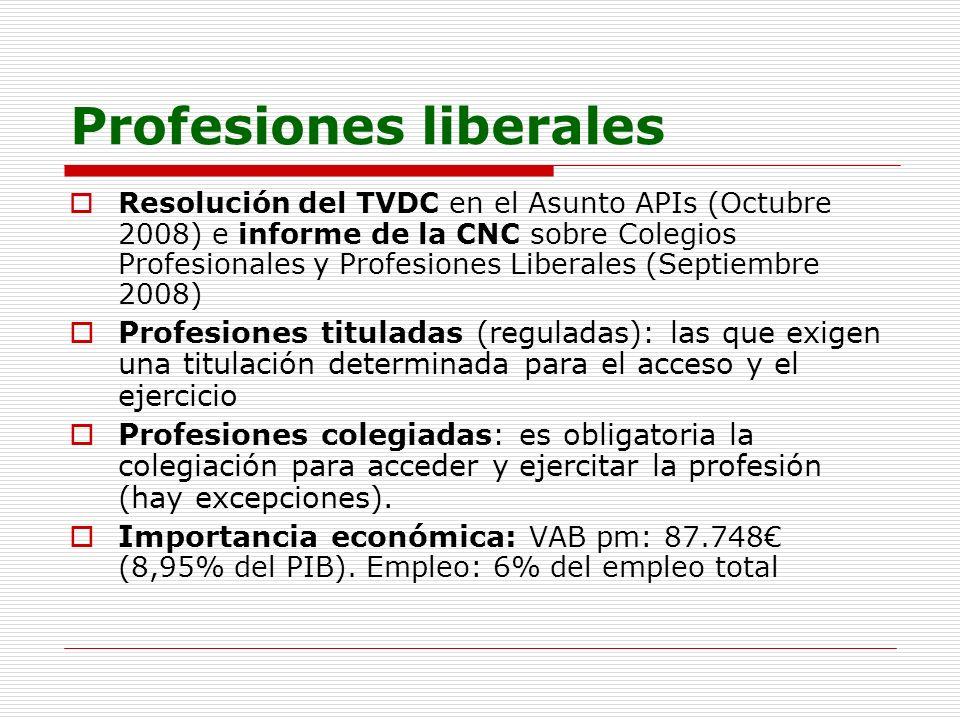 Profesiones liberales Resolución del TVDC en el Asunto APIs (Octubre 2008) e informe de la CNC sobre Colegios Profesionales y Profesiones Liberales (S