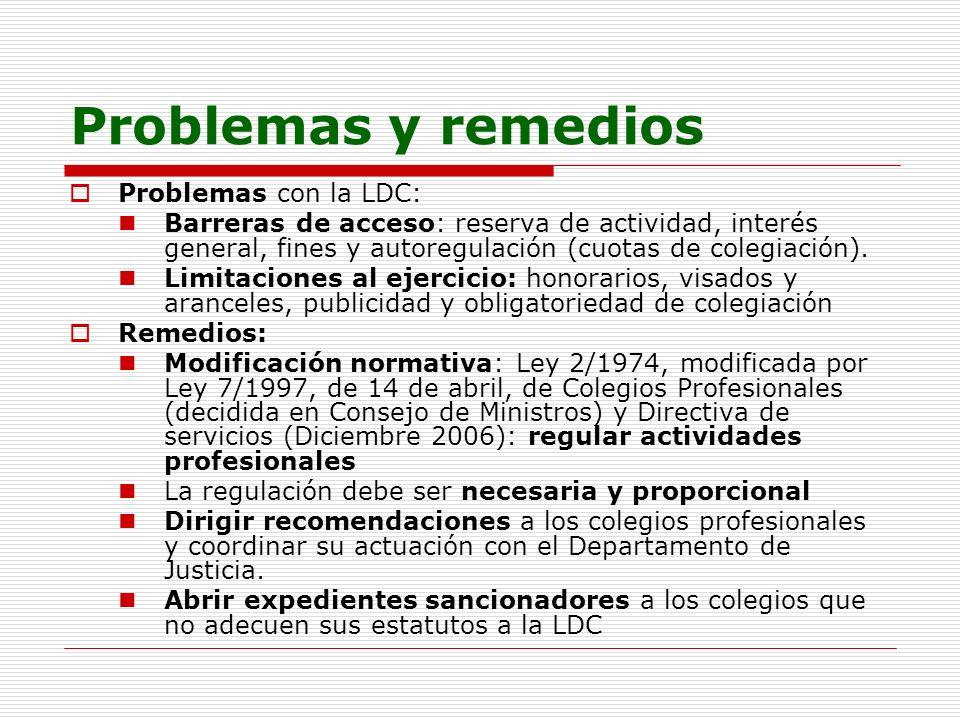 Problemas y remedios Problemas con la LDC: Barreras de acceso: reserva de actividad, interés general, fines y autoregulación (cuotas de colegiación).
