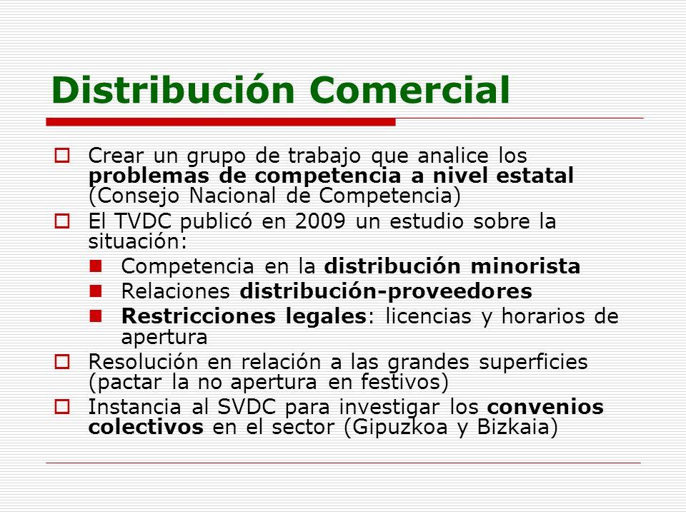 Distribución Comercial Crear un grupo de trabajo que analice los problemas de competencia a nivel estatal (Consejo Nacional de Competencia) El TVDC pu