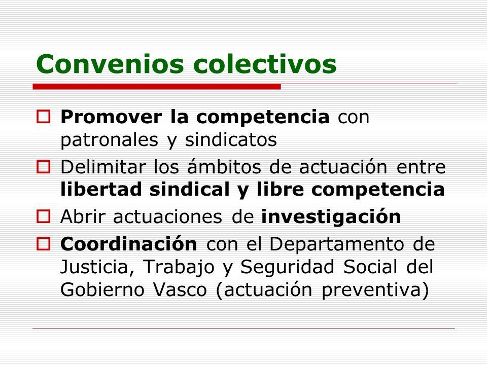 Convenios colectivos Promover la competencia con patronales y sindicatos Delimitar los ámbitos de actuación entre libertad sindical y libre competenci