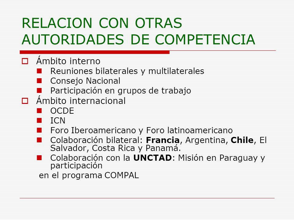 RELACION CON OTRAS AUTORIDADES DE COMPETENCIA Ámbito interno Reuniones bilaterales y multilaterales Consejo Nacional Participación en grupos de trabaj