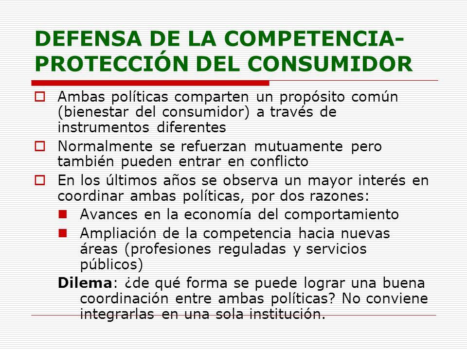 DEFENSA DE LA COMPETENCIA- PROTECCIÓN DEL CONSUMIDOR Ambas políticas comparten un propósito común (bienestar del consumidor) a través de instrumentos