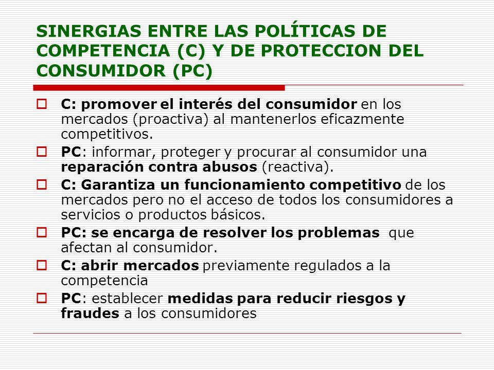 SINERGIAS ENTRE LAS POLÍTICAS DE COMPETENCIA (C) Y DE PROTECCION DEL CONSUMIDOR (PC) C: promover el interés del consumidor en los mercados (proactiva)