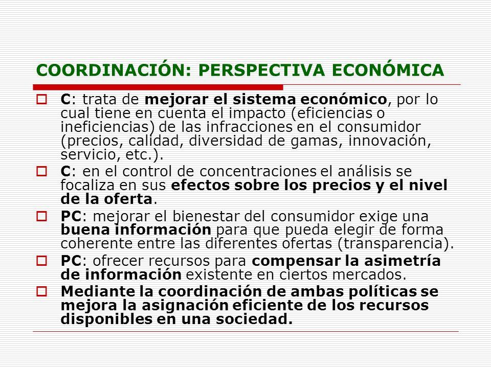 COORDINACIÓN: PERSPECTIVA ECONÓMICA C: trata de mejorar el sistema económico, por lo cual tiene en cuenta el impacto (eficiencias o ineficiencias) de